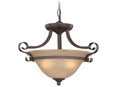 Craftmade Jeremiah Stanton Two-Light Convertible Semi-Flushmount Light in English Toffee with Tea-Stained Glass