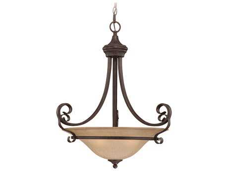 Craftmade Jeremiah Stanton Three-Light Inverted Pendant Light in English Toffee with Tea-Stained Glass