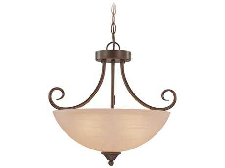 Craftmade Jeremiah Raleigh Three-Light Convertible Semi-Flushmount Light in Oiled Bronze with Warm Faux Alabaster Glass