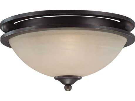 Craftmade Jeremiah Seymour Two-Light Flushmount Light in Oiled Bronze with Warm Faux Alabaster Glass