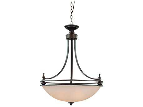 Craftmade Jeremiah Seymour Four-Light Inverted Pendant Light in Oiled Bronze with Warm Faux Alabaster Glass