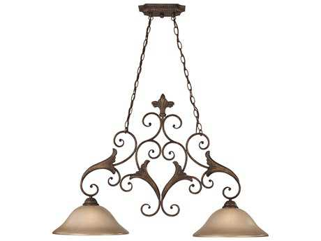 Craftmade Jeremiah Ferentino Two-Light Island Light in Burleson Bronze with Distressed Mocha Etched Glass