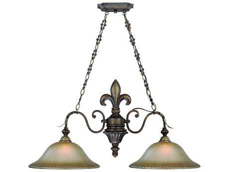 Craftmade Jeremiah Devereaux Two-Light Island Light in Burleson Bronze with Distressed Mocha Etched Glass