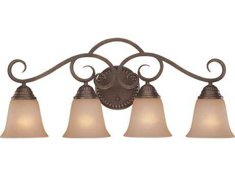 Craftmade Jeremiah Gatewick Four-Light Vanity Light in Century Bronze with Light Tea-Stained Glass