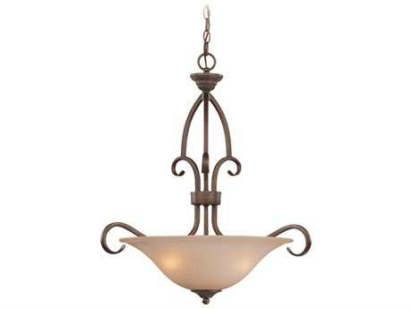Craftmade Jeremiah Gatewick Three-Light Inverted Pendant Light in Century Bronze with Light Tea-Stained Glass