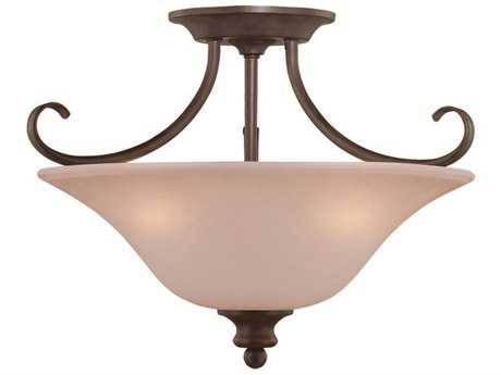 Craftmade Jeremiah Linden Lane Three-Light Convertible Semi-Flushmount Light in Oiled Bronze with Light Tea-Stained Glass