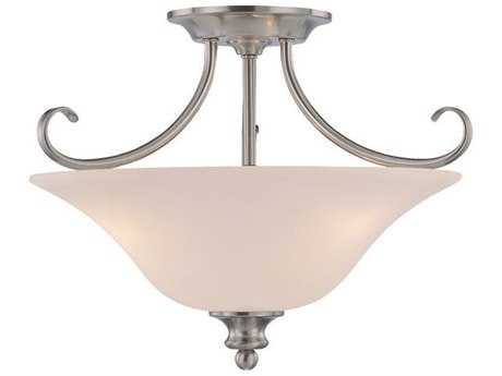 Craftmade Jeremiah Linden Lane Three-Light Convertible Semi-Flushmount Light in Satin Nickel with Frosted Glass