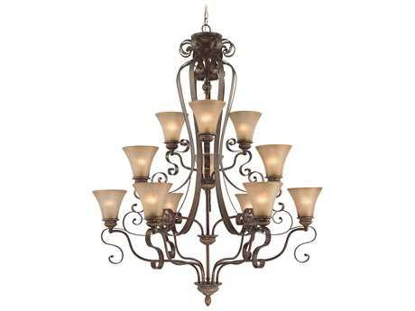 Craftmade Jeremiah Kingsley 12-Light Grand Chandelier in Century Bronze with Distressed Mocha Etched Glass