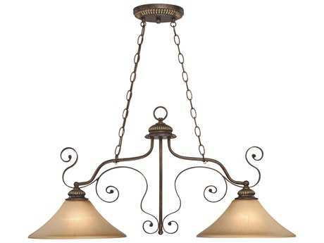 Craftmade Jeremiah Kingsley Two-Light Island Light in Century Bronze with Distressed Mocha Etched Glass