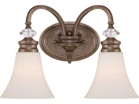 Craftmade Jeremiah Boulevard Two-Light Vanity Light in Mocha Bronze with Creamy Etched Glass