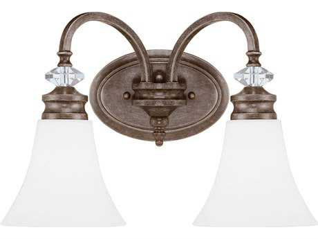 Craftmade Jeremiah Boulevard Mocha Bronze Two-Light 16.5'' Wide Vanity Light with Silver Accents