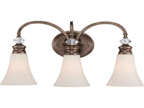 Craftmade Jeremiah Boulevard Three-Light Vanity Light in Mocha Bronze with Creamy Etched Glass