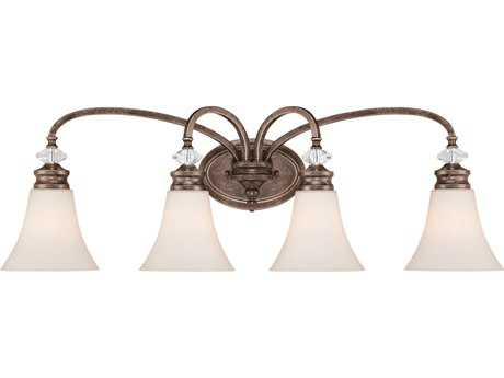 Craftmade Jeremiah Boulevard Four-Light Vanity Light in Mocha Bronze with Creamy Etched Glass