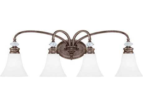 Craftmade Jeremiah Boulevard Mocha Bronze Four-Light 33.38'' Wide Vanity Light with Silver Accents
