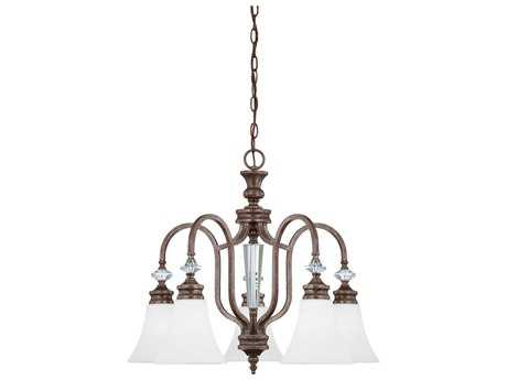 Craftmade Jeremiah Boulevard Mocha Bronze Five-Light 25.38'' Wide Chandelier with Silver Accents