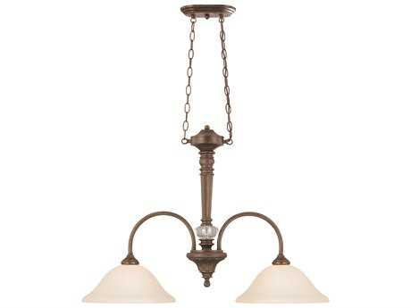 Craftmade Jeremiah Cambridge Two-Light Island Light in Tortoise Crackle with Creamy Etched Glass