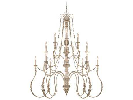 Craftmade Jeremiah Zoe 12-Light Grand Chandelier in Antique Linen with Smooth Crystal Beads