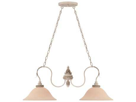 Craftmade Jeremiah Zoe Two-Light Island Light in Antique Linen with Smooth Crystal Beads