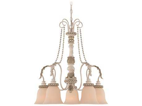 Craftmade Jeremiah Zoe Five-Light Down Chandelier in Antique Linen with Smooth Crystal Beads