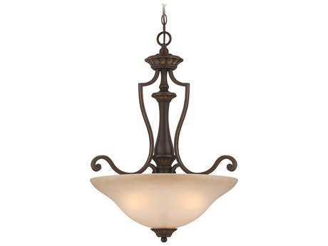 Craftmade Jeremiah Josephine Three-Light Inverted Pendant Light in Antique Bronze/Gold Accents with Salted Caramel Glass