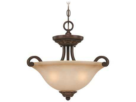 Craftmade Jeremiah Josephine Three-Light Convertible Semi-Flushmount Light in Antique Bronze/Gold Accents with Salted Caramel Glass