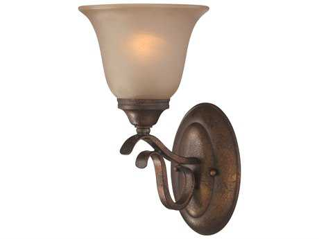 Craftmade Jeremiah McKinney Wall Sconce in Burleson Bronze with Light Tea-Stained Glass
