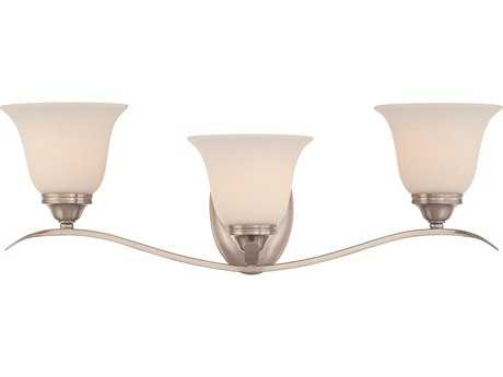 Craftmade Jeremiah McKinney Three-Light Vanity Light in Brushed Polished Nickel with Frosted White Glass