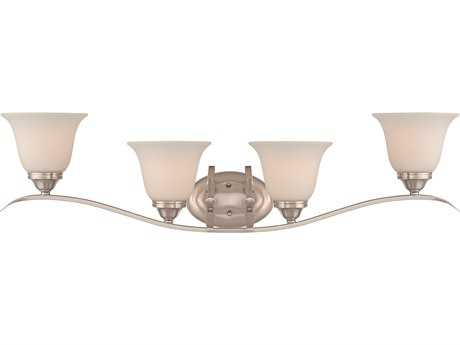 Craftmade Jeremiah McKinney Four-Light Vanity Light in Brushed Polished Nickel with Frosted White Glass