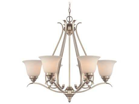 Craftmade Jeremiah McKinney Six-Light Chandelier in Brushed Polished Nickel with Frosted White Glass