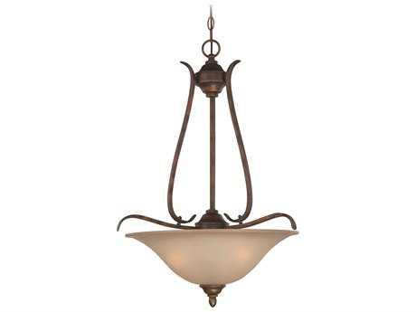 Craftmade Jeremiah McKinney Three-Light Inverted Pendant Light in Burleson Bronze with Salted Caramel Glass