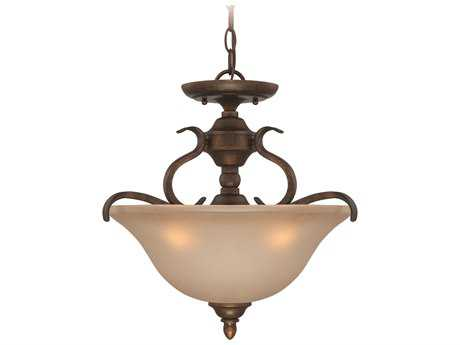Craftmade Jeremiah McKinney Three-Light Convertible Semi-Flushmount Light in Burleson Bronze with Salted Caramel Glass