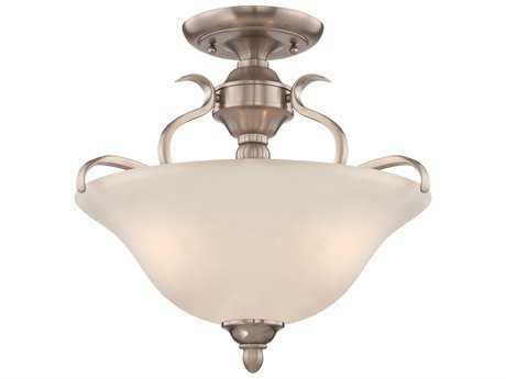Craftmade Jeremiah McKinney Three-Light Convertible Semi-Flushmount Light in Brushed Polished Nickel with Frosted White Glass