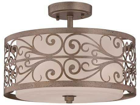 Craftmade Jeremiah Worthington Three-Light Semi-Flushmount Light in Athenian Obol with Frosted Glass