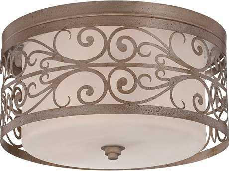 Craftmade Jeremiah Worthington Three-Light Flushmount Light in Athenian Obol with Frosted Glass