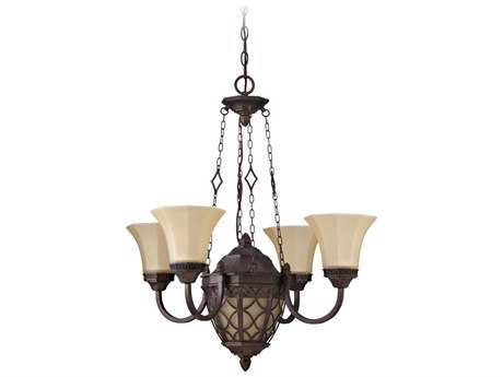 Craftmade Jeremiah Evangeline Four-Light Chandelier in Peruvian Bronze with Amber Frost Glass