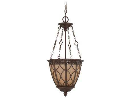 Craftmade Jeremiah Evangeline Three-Light Foyer Chandelier in Peruvian Bronze with Amber Frost Glass