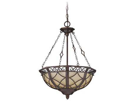 Craftmade Jeremiah Evangeline Three-Light Inverted Pendant Light in Peruvian Bronze with Amber Frost Glass