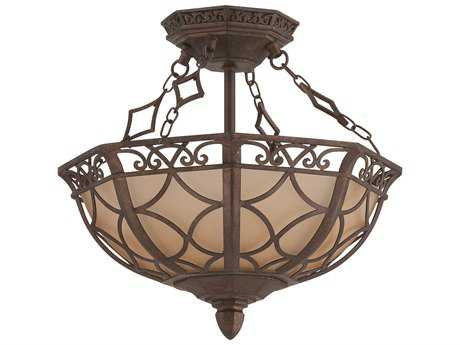 Craftmade Jeremiah Evangeline Three-Light Convertible Semi-Flushmount Light in Peruvian Bronze with Amber Frost Glass