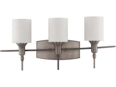 Craftmade Jeremiah Meridian Three-Light Vanity Light in Antique Nickel with White Opal Glass