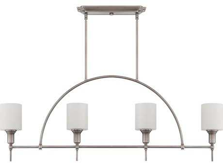 Craftmade Jeremiah Meridian Four-Light Island Light in Antique Nickel with White Opal Glass