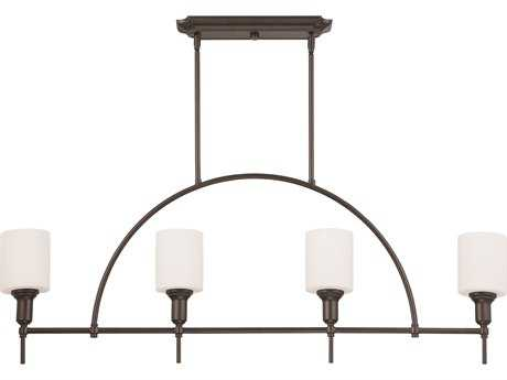 Craftmade Jeremiah Meridian Four-Light Island Light in Espresso with White Opal Glass