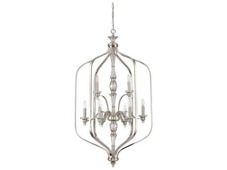 Craftmade Jeremiah Laurent Nine-Light Foyer Grand Chandelier in Polished Nickel with Clear Crystal