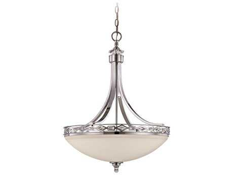 Craftmade Jeremiah Saratoga Three-Light Pendant Light in Chrome with Crystal Trim