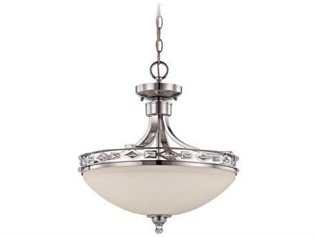 Craftmade Jeremiah Saratoga Three-Light Convertible Semi-Flushmount Light in Chrome with Crystal Trim