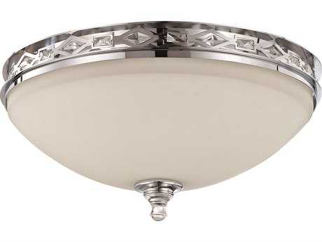 Craftmade Jeremiah Saratoga Three-Light Flushmount Light in Chrome with Crystal Trim