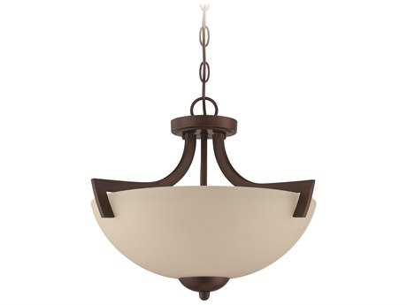 Craftmade Jeremiah Almeda Three-Light Convertible Semi-Flushmount Light in Old Bronze with Creamy Frosted Glass