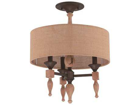 Craftmade Jeremiah Glenwood Three-Light Convertible Semi-Flushmount Light in Aged Bronze/Distressed Oak with Burlap Fabric