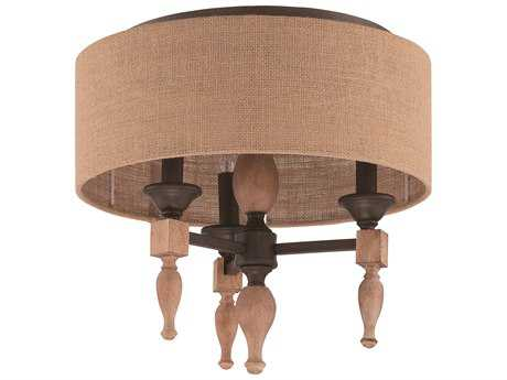 Craftmade Jeremiah Glenwood Three-Light Flushmount Light in Aged Bronze/Distressed Oak with Burlap Fabric