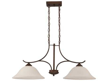 Craftmade Jeremiah Arabella Two-Light Island Light in Old Bronze with White Frosted Glass