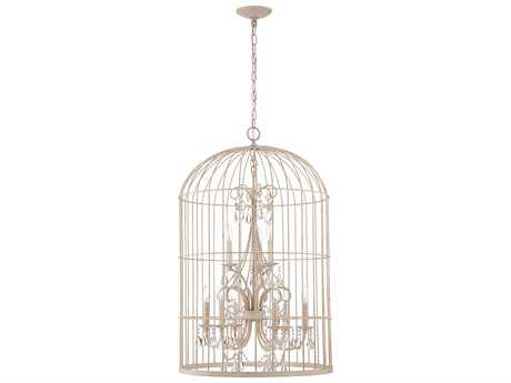 Craftmade Jeremiah Ivybridge Nine-Light Chandelier in French White with Crystal Accents